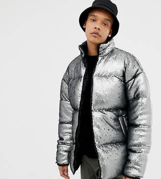 Asos DESIGN Tall oversized sequin puffer jacket in silver