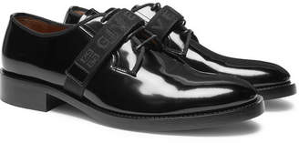Givenchy Cruz Logo-Jacquard Patent-Leather Derby Shoes
