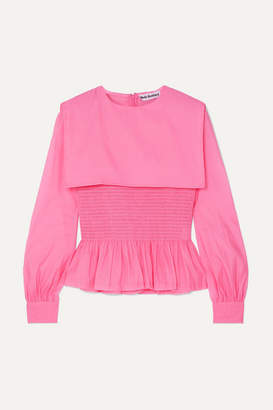 Molly Goddard Penny Ruffled Shirred Organza Top - Pink