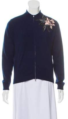 Allude Cashmere & Wool Zip-Up Cardigan Blue Cashmere & Wool Zip-Up Cardigan