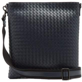 Bottega Veneta Intrecciato Leather Cross Body Bag - Mens - Navy