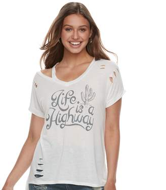 "Juniors' ""Life Is A Highway"" Destructed Graphic Tee"