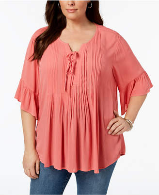 Style&Co. Style & Co Plus Size Pintucked Ruffled Peasant Top, Created for Macy's
