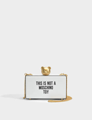 Moschino This is Not A Toy Pouch Bag in White Calfskin
