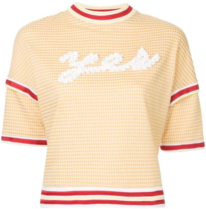 Tu Es Mon Trésor YES message ribbon gingham sweatshirt