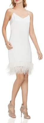 Vince Camuto Satin Feather-Hem Slip Dress