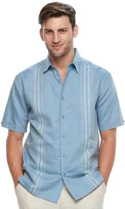 Big & Tall Havanera Classic-Fit Paneled Linen-Blend Button-Down Shirt
