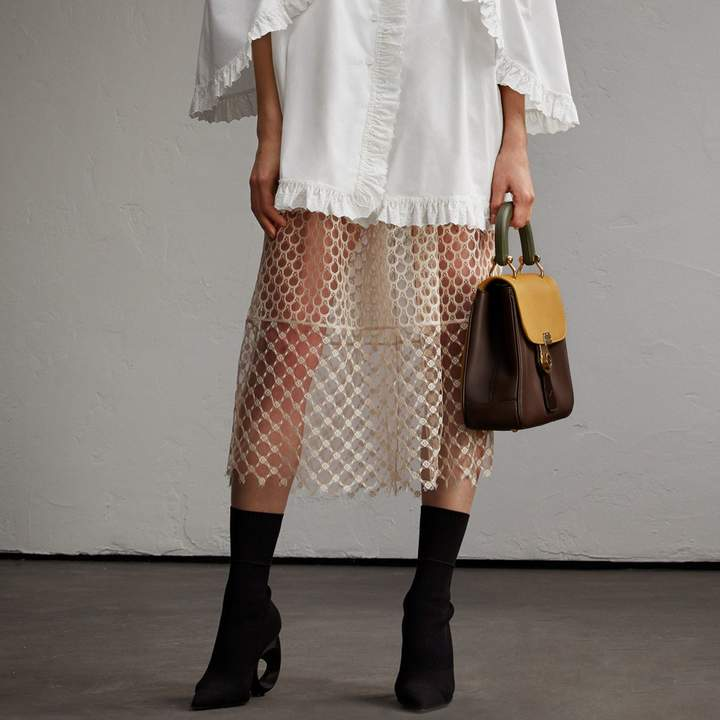 Burberry Macramé Lace Peplum Skirt