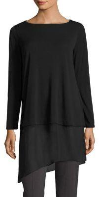 Eileen Fisher Silk Jersey Asymmetrical Hem Tunic $268 thestylecure.com