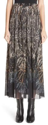 Fuzzi Paisley Tulle Midi Skirt
