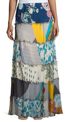 Johnny Was Mixed Prints Tiered Long Skirt $290 thestylecure.com
