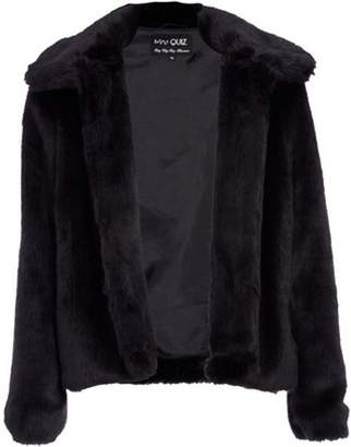 Dorothy Perkins Womens *Quiz Black Short Faux Fur Collar Jacket