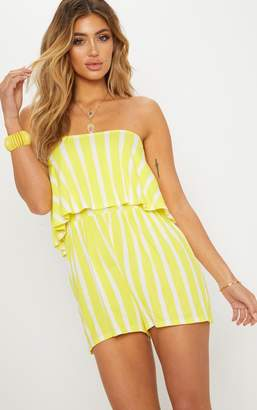 665faf3c1f PrettyLittleThing Yellow Striped Bandeau Layered Playsuit
