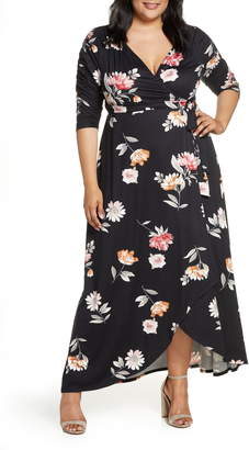 Kiyonna Meadow Dream Wrap Maxi Dress