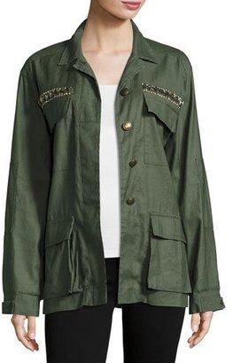 Ramy Brook James Embellished Utility Shirt Jacket, Sage $495 thestylecure.com