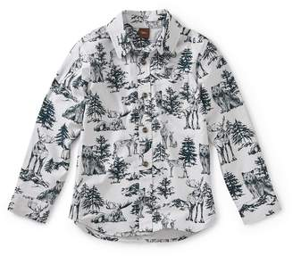 Tea Collection Forest Print Woven Shirt