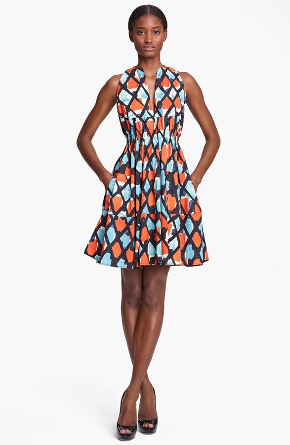 Thakoon Print Cinched Waist Poplin Dress