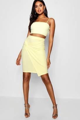 boohoo Knot Front Bodycon Midi Skirt