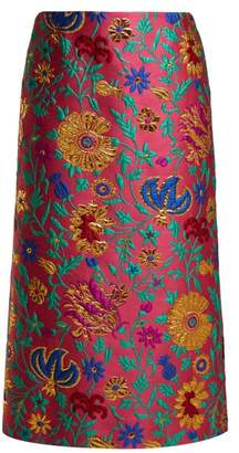 Dragon Optical La Doublej Flower Floral Brocade Pencil Skirt - Womens - Pink Print