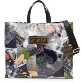 Fendi Large Show Print Leather Tote