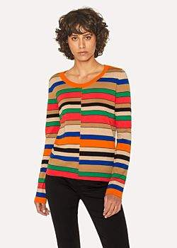 Paul Smith Women's Multi-Coloured Stripe Scoop Neck Sweater