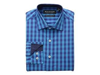 Nick Graham Gingham Print CVC Stretch Dress Shirt