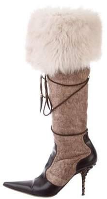 Giuseppe Zanotti Shearling-Trimmed Over-The-Knee Boots Brown Shearling-Trimmed Over-The-Knee Boots