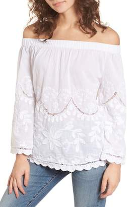 Blank NYC BLANKNYC Denim Embroidered Off the Shoulder Top