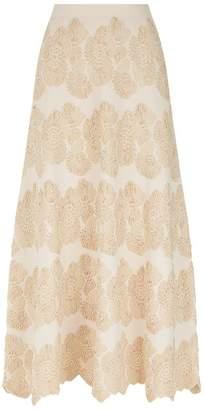 D-Exterior D.exterior Metallic Scalloped Midi Skirt