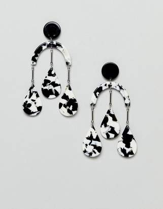 Asos Design Earrings In Abstract Drop Design With Resin Shapes In Gold