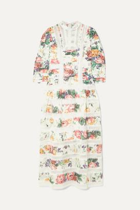 Zimmermann Allia Pintucked Lace-paneled Floral-print Linen Dress - White