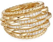 David Yurman Tides 18k Gold Woven Diamond Ring, Size 8