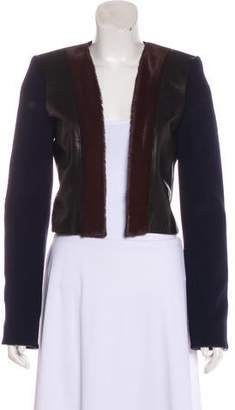 Barbara Bui Leather-Trimmed Cropped Jacket w/ Tags