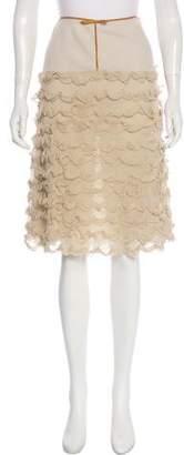 Prada Leather-Trimmed Knee-Length Skirt