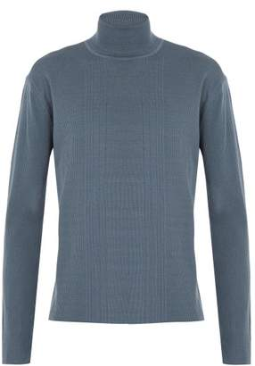 Wooyoungmi Ribbed Knit Roll Neck Wool Sweater - Mens - Light Blue