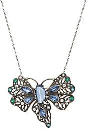 Cathy Waterman Women's Mixed-Gemstone Butterfly Necklace - White