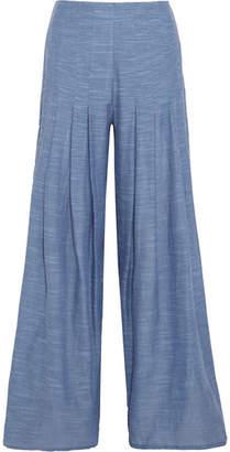 Vix - Meidy Split-side Cotton-chambray Wide-leg Pants - Light denim $250 thestylecure.com