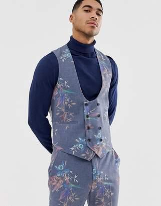 Asos Design DESIGN skinny suit waistcoat in printed blue floral wool mix