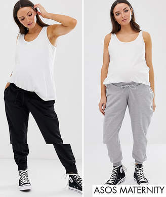 533f5819a1d4e Asos DESIGN Maternity 2 pack under the bump basic jogger with tie multipack  saving