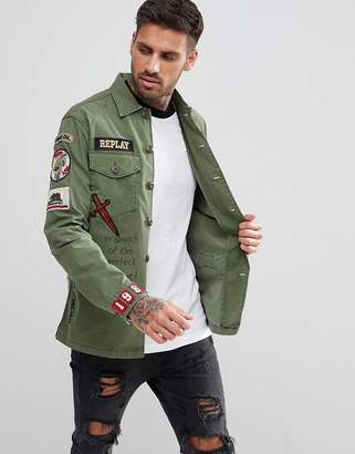 Replay Military Badge Shirt Jacket