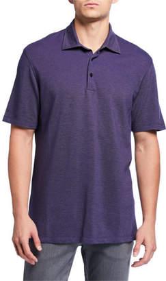 Ermenegildo Zegna Men's Pique Polo Shirt, Medium Blue