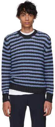 Prada Navy and Blue Striped Alpaca Crewneck Sweater