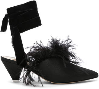 Feather Embellished Cara Strappy Mules