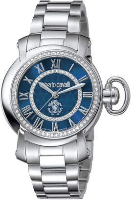 Roberto Cavalli By Franck Muller 36mm Stainless Steel Bracelet Watch, Blue