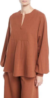 Co Split-Neck Long-Sleeve Tropical Cotton Tunic Blouse