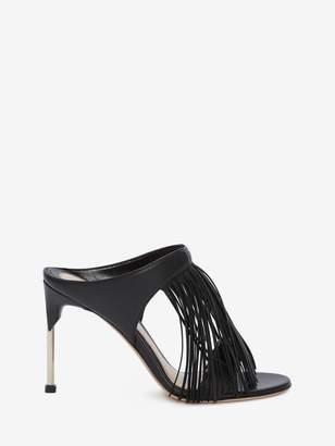Alexander McQueen Pin Heel Fringe Mule