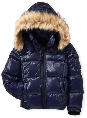 S13 Boys 8-20) Downhill Faux Fur Trim Coat