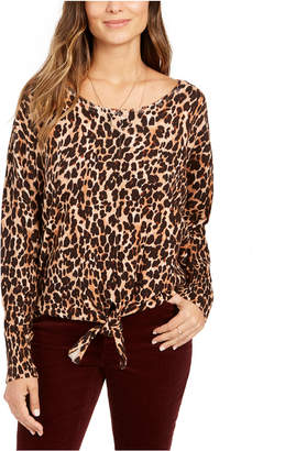 Style&Co. Style & Co Printed Tie-Front Sweater