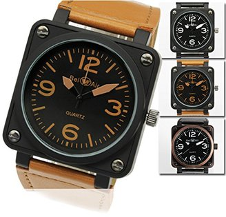 Bel Air スクエアビッグフェイス・ミリタリー腕時計 (BLACK&BLACK) 男女兼用 ユニセックス
