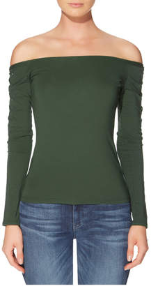 GUESS Long Sleeve Catrina Off Shoulder Lace-Up Top